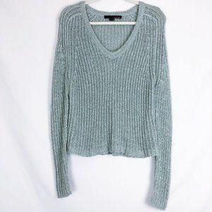 360 Sweater Silk Linen Knit V Neck Blue Green S